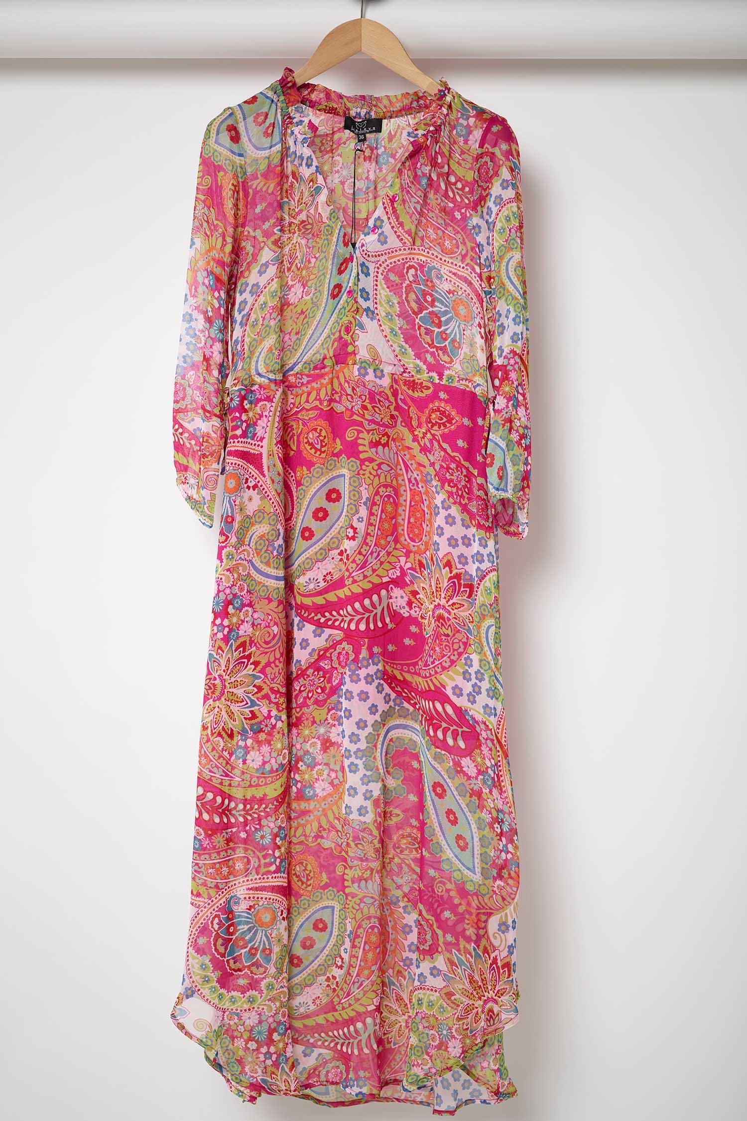 Nieuw just eve, roze maxi dress, lange jurk, leuke print UW-23