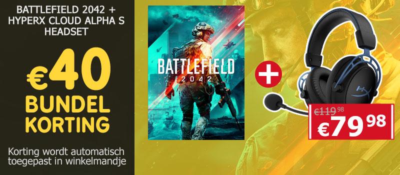 Koop Battlefield 2042 samen met een HyperX Cloud Alpha S Headset en ontvang 40 euro bundelkorting!