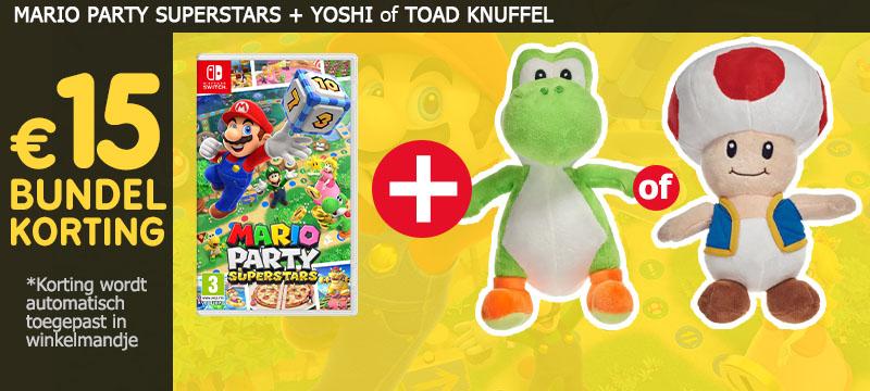 Koop Mario Party Superstars samen met een Yoshi of Toad knuffel en ontvang 15 euro bundelkorting. De korting wordt automatisch toegepast in het winkelmandje